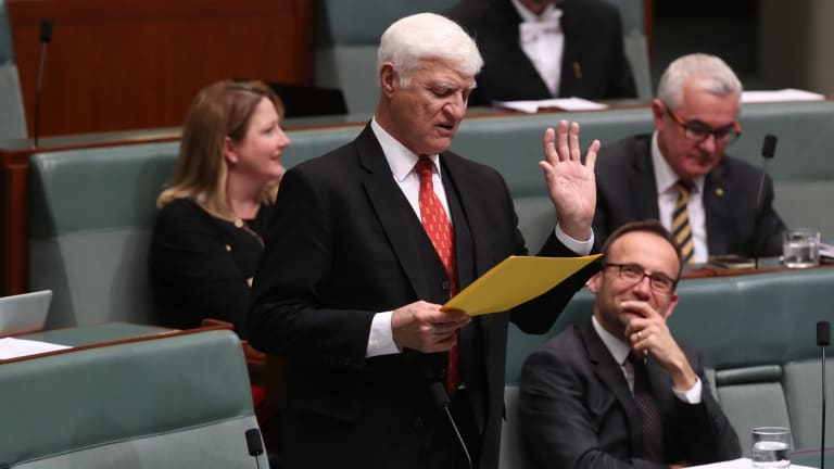 Independent Member for Kennedy Bob Katter, asking a question to Frydenberg during question time at Parliament House last month.