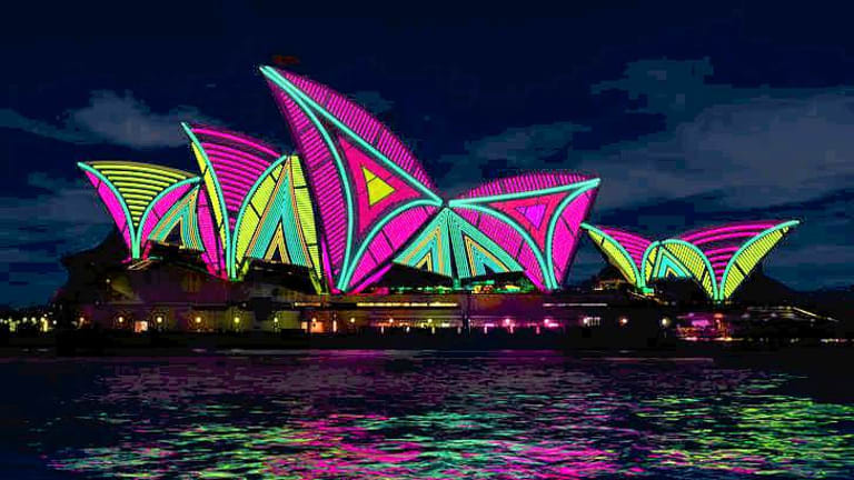 Computer rendering of The Spinifex Group's lighting of the Opera House sails.