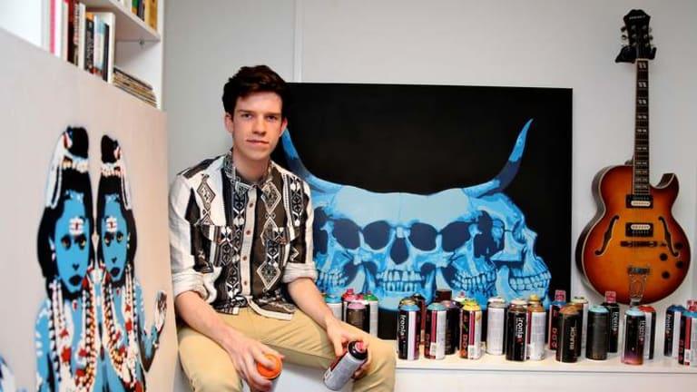 Out in the open … Bondi stencil artist Jackson Farley.