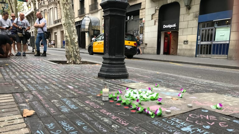 Chalk message tributes in Las Ramblas in Barcelona, on the stretch of the boulevard where tourists were mown down by the terrorists' van.