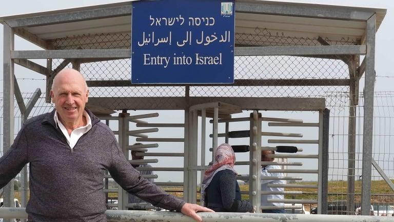 The writer, Project Rozana board member Gareth Andrews, at the Gaza border.