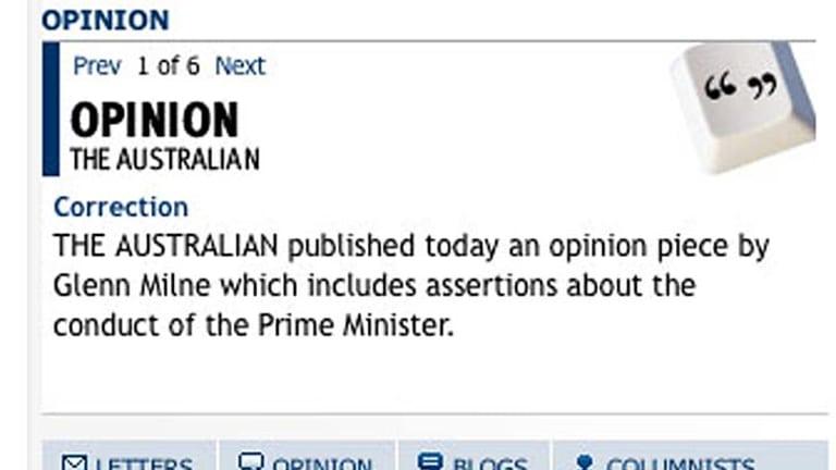 <em>The Australian</em>'s online correction.