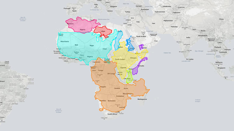 Deceptively Big: Nine Countries (including Three Superpowers) Superimposed  Over Africa.