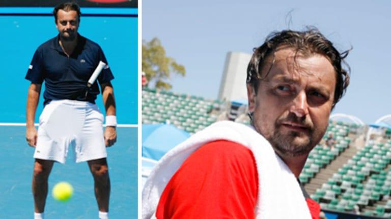 Frenchman Henri Leconte hams it up during the Australian Open.