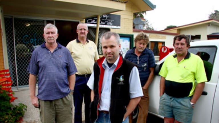 Losing business... Springbrook residents Bryan Robins, Peter Grayson, Wayne Randall, David Window and Ray Cavanough. Photo: Michelle Smith