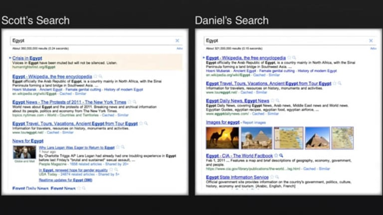 An example of two Google searches for the same term by two different people.