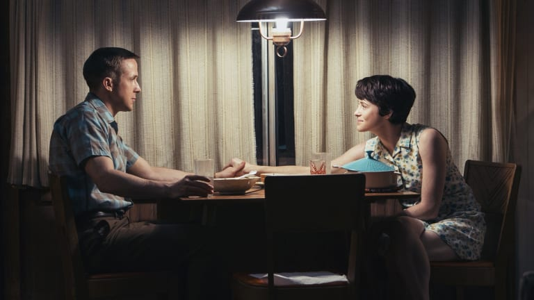 Claire Foy and Ryan Gosling in a scene from the film.