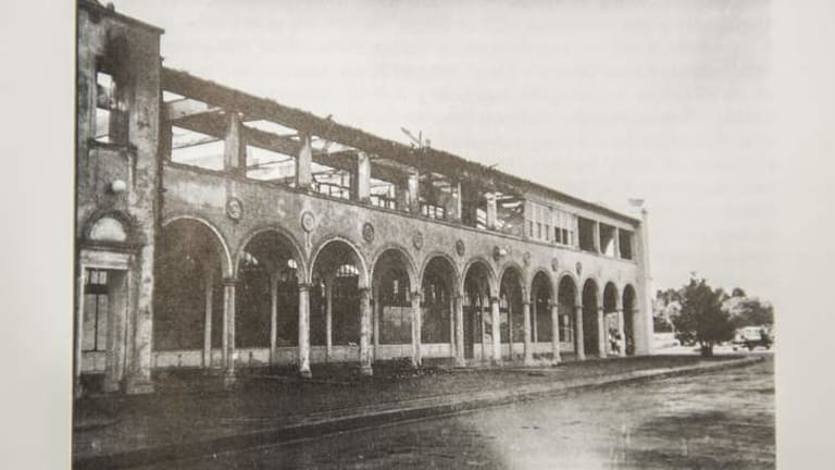 The Melbourne Building after the fire in April, 1953.
