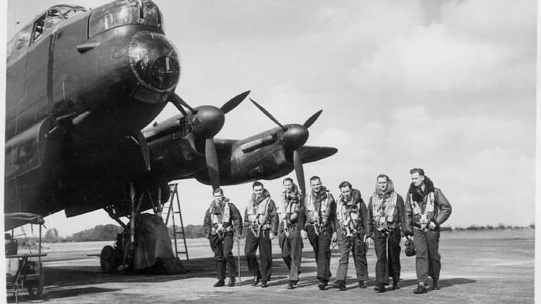 Crew of a Lancaster bomber in the Second World War.