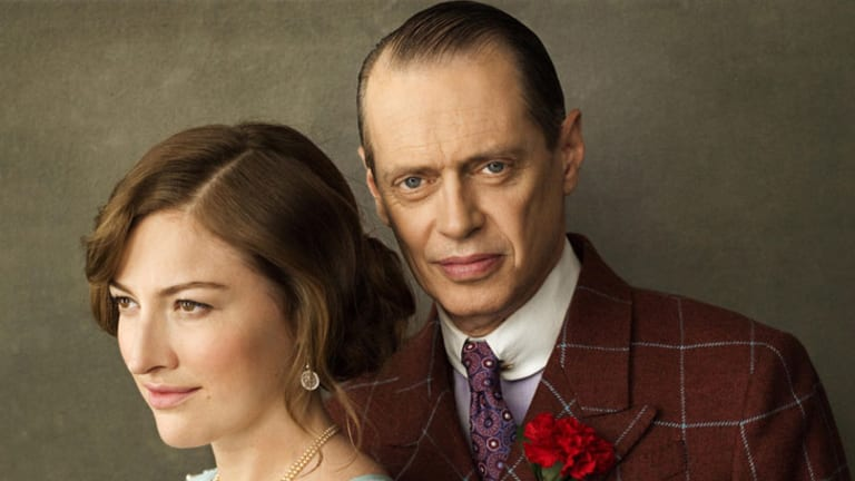 "Steve Buscemi as Enoch ""Nucky"" Thompson and Kelly Macdonald as Margaret Schroeder in 'Boardwalk Empire'."