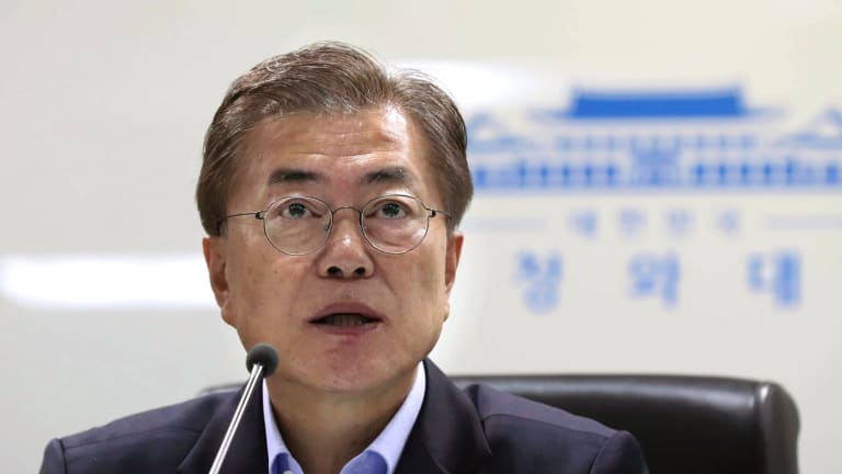 South Korean President Moon Jae-in at a meeting of the country's National Security Council at the Blue House in Seoul this month.