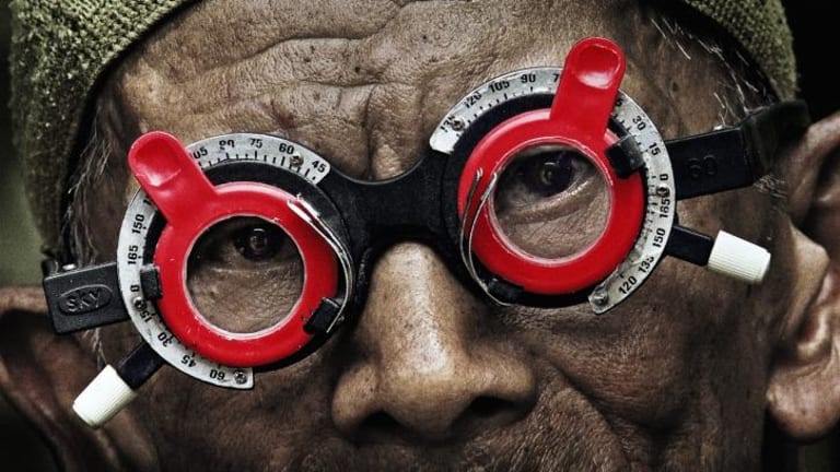 Inong Sungai Ular has his eyes tested in <i>The Look of Silence</i>.
