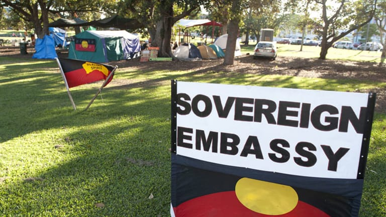 Signage at the Musgrave Park tent embassy on March 31.