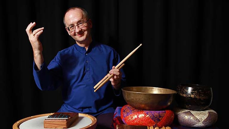 David Jones plays 35 percussion instruments.