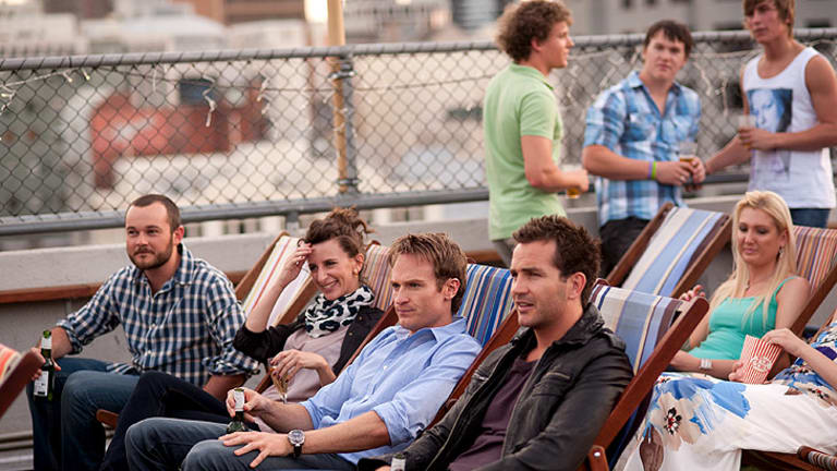 Sunset screening: Ben (Josh Lawson, 3rd from left) enjoys a night out with friends while reassessing his life in the Melbourne-set rom-com <i>Any Questions for Ben?</i>