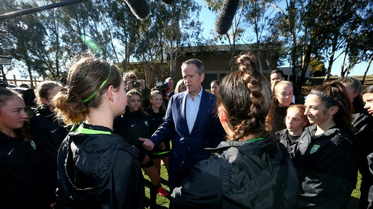 Opposition Leader Bill Shorten meets with soccer players from the Canberra United Academy during a visit to the University of Canberra.