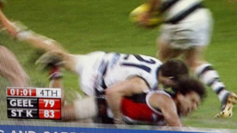Cam Mooney lays the illegal tackle on Friday night.