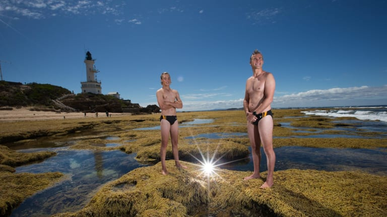 Simon Bromell and his son Ben will swim across the notorious rip from Point Nepean to Point Lonsdale.