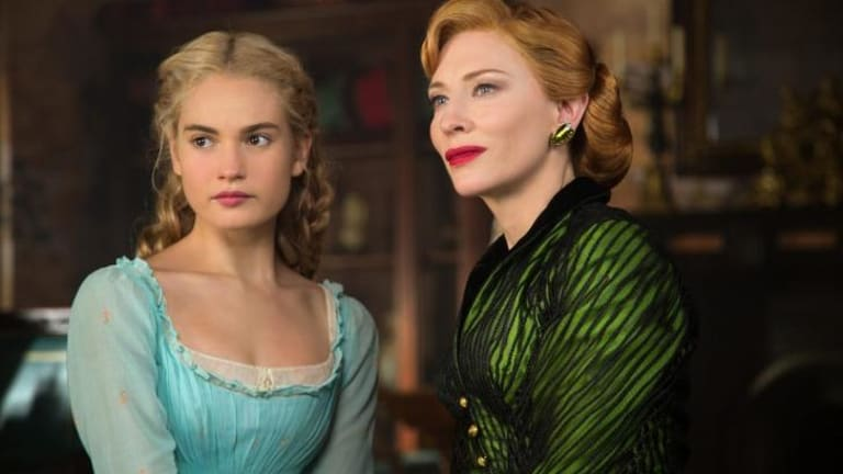 Lily James as Cinderella and Cate Blanchett as her wicked stepmother in Disney's <i>Cinderella</i>.