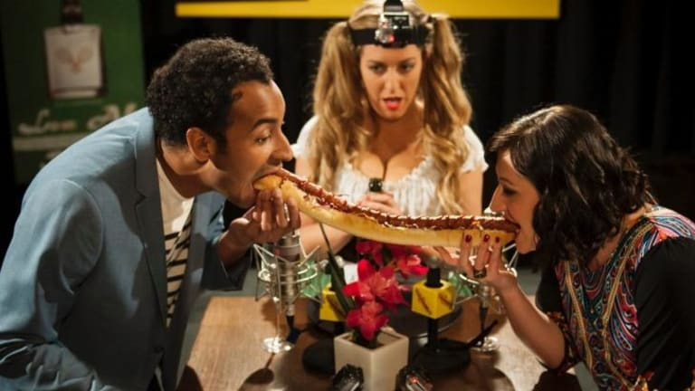 Set-up: Matt Okine, Celia Pacquola and Rebecca Jo Hanbury in a scene from the first  series of <i>It's a Date</i>.