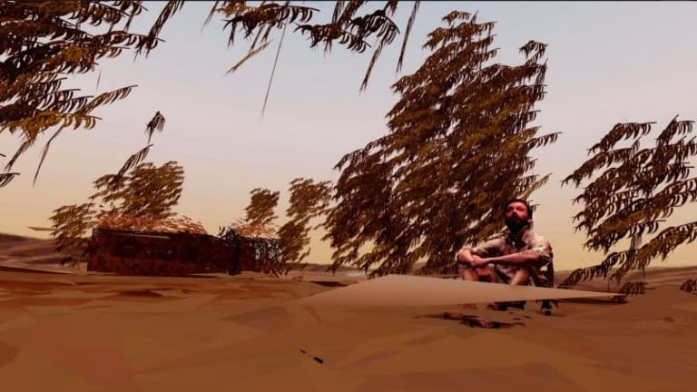 A screenshot from Assent, Oscar Raby's virtual reality experience, featuring a 3D scan of Raby.