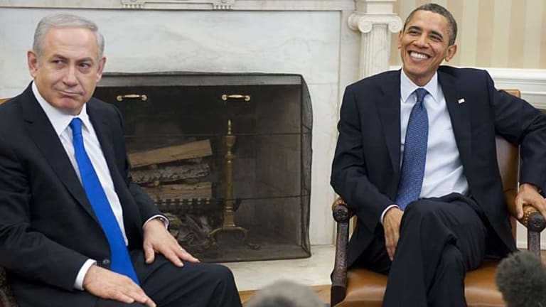 Reaffirming his stance ... President Barack Obama, right, has held talks with Israeli Prime Minister Benjamin Netanyahu.