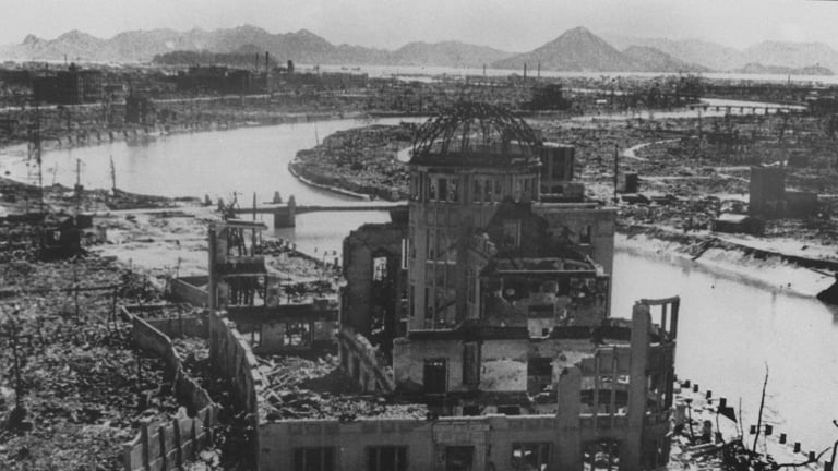 A photo dated September 1945 of the remains of the Prefectural Industry Promotion Building after the bombing of Hiroshima, which was later preserved as a monument.