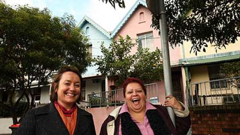 ''It resembles bush living'' ...  historian Heidi Norman surveys Walker Street, Redfern, with Lesley Townsend, whose grandparents bought a house there in the 1950s.