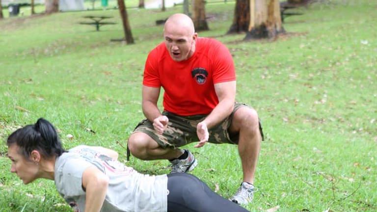Military motivation ... Ben Preece puts Karina Whelan through her paces.