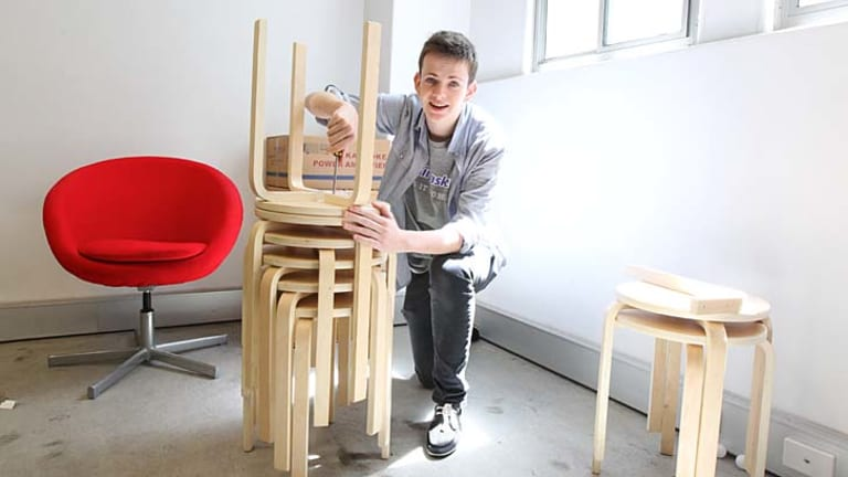 Frustration-free: Will Chivers from Airtasker assembles IKEA stools.
