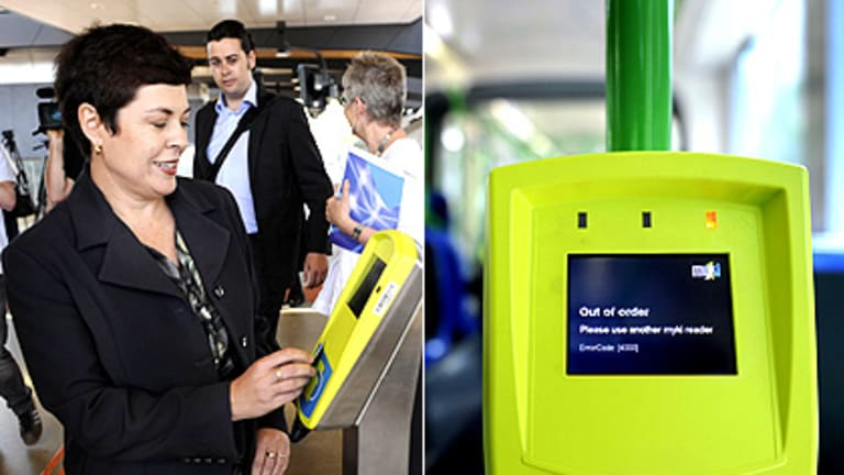 Transport Minister Lynne Kosky launches myki at North Melbourne station yesterday: ''Commuters will start to see how good it is.'' Inset: A myki reader on a tram.