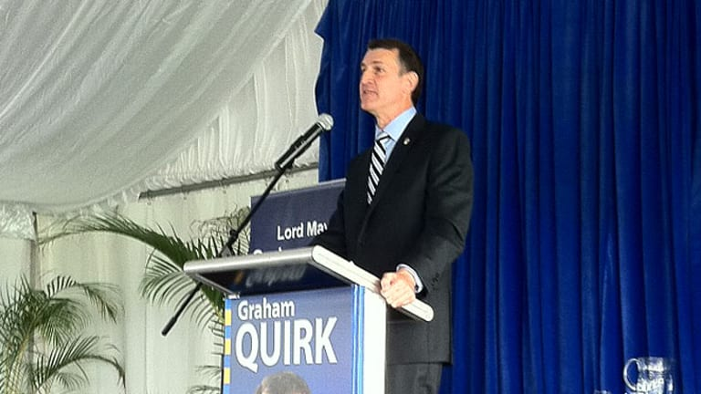 Brisbane Lord Mayor Graham Quirk addresses those attending his re-election campaign launch at Doomber Racecourse on Sunday, April 15.