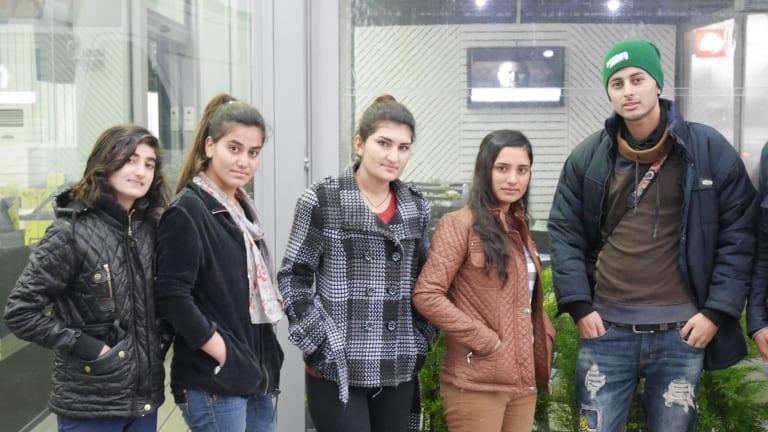 Yazidi refugees at Serres camp in northern Greece (from left): Mayada, 13, Shirin, 16, Zahra, 18, Manisa, 21, and Hashim, 18.