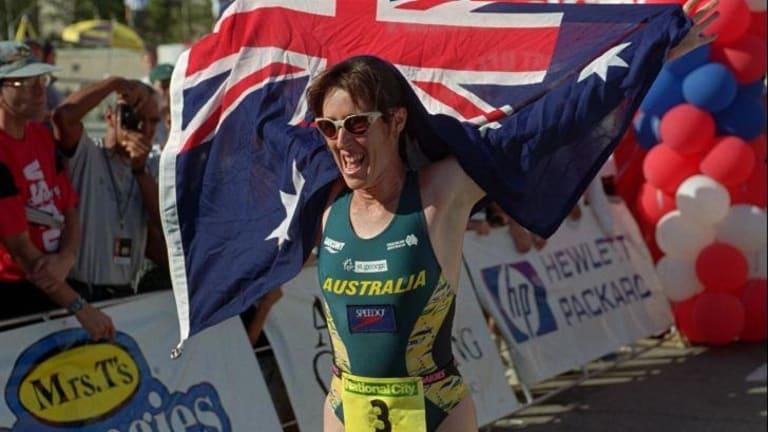 Australia's Jackie Fairweather (nee Gallagher) celebrates her victory in the Triathlon World Championship in 1996.