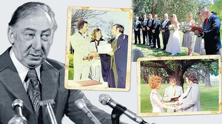 Decades of services: Three of the 6000 weddings Dally Messenger has presided over since Lionel Murphy, right, launched the civil celebrant program in 1973.