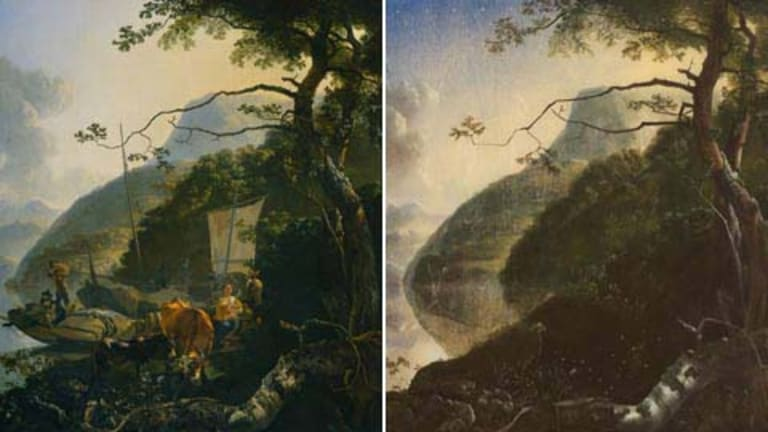 Spot the difference ... <i>Boatmen Moored on the Shore of a Lake</i> by Adam Pynacker, circa 1660 and (right) <i>Proposal for Landscaped Cosmos</i> by Sam Leach.