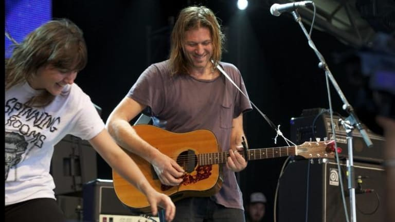 Sound check: Courtney Barnett and The Lemonheads' Evan Dando perform at the Meredith Music Festival.