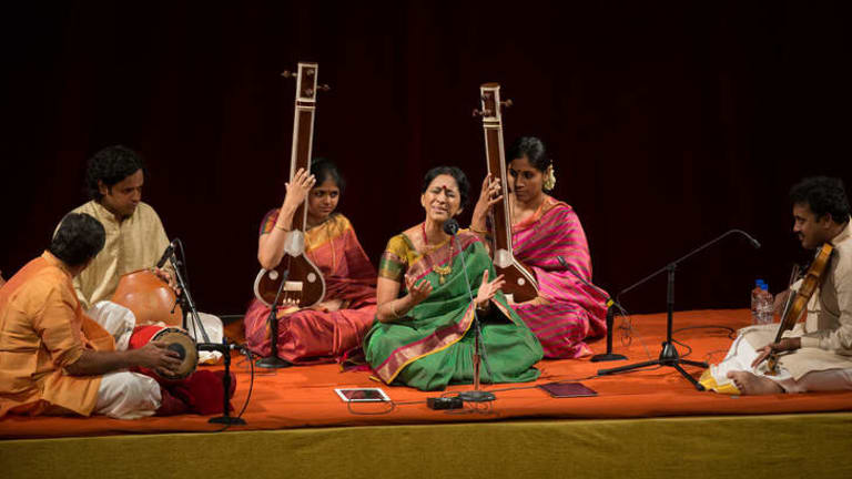 Exceptional: Bombay Jayashri flanked by players of the tambura, mridangam and ghatam (far left), and violin.