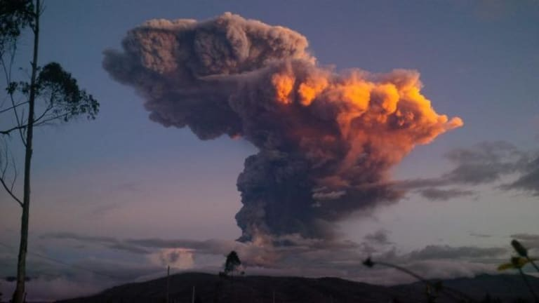Eruption fears: The Tungurahua volcano spews a column of ash.