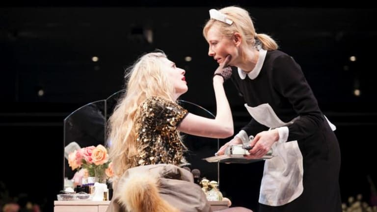 Best actress: Cate Blanchett (right) won Best Female Actor in a Play for her turn in <em>The Maids</em>.
