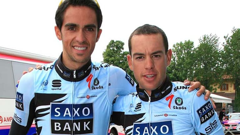 Alberto Contador and RIchie Porte together before the Giro  d'Italia start in Turin.