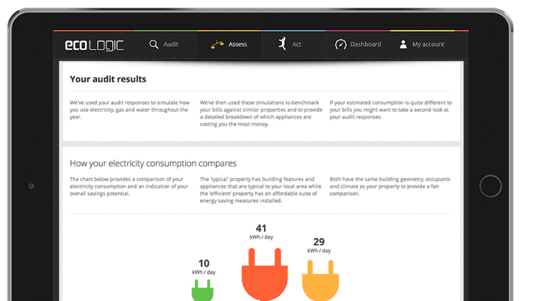 Ecologic's app gives consumers a personalised assessment of their energy usage.
