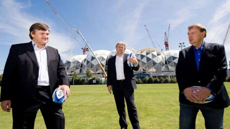 Outgoing Victorian Rugby Union president Gary Gray (left), Rebels chief executive Brian Waldron and chairman Harold Mitchell.