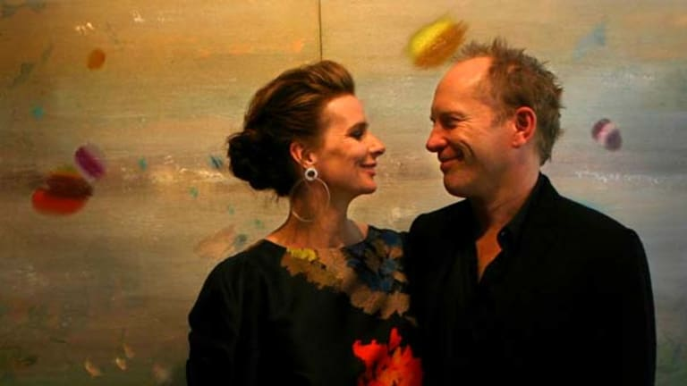 ''Incredibly lucky'' ...  Andrew Taylor with his wife, Rachel Griffiths.