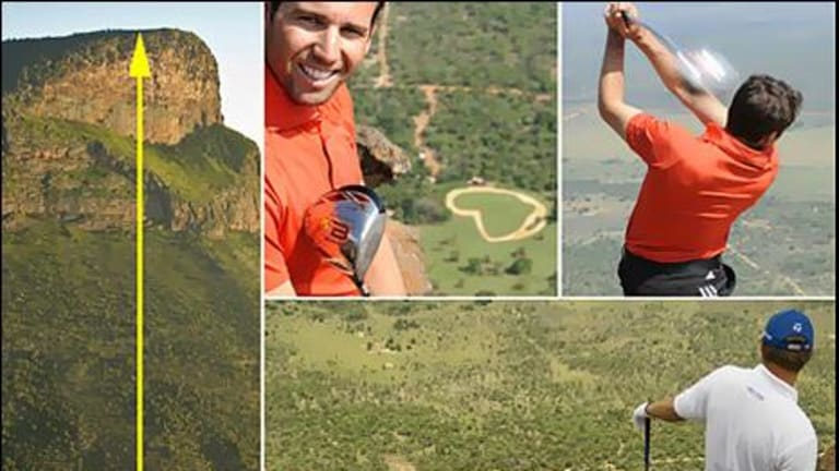The Extreme 19th hole on Hanglip Mountain at the Legend Golf and Safari Resort in South Africa. Insets: Leading golfers Sergio Garcia, in the red shirt, on the tee and below, Retief Goosen lines up his shot.