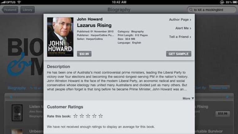 John Howard's memoirs sell for $32.99 on Apple's iBookstore.