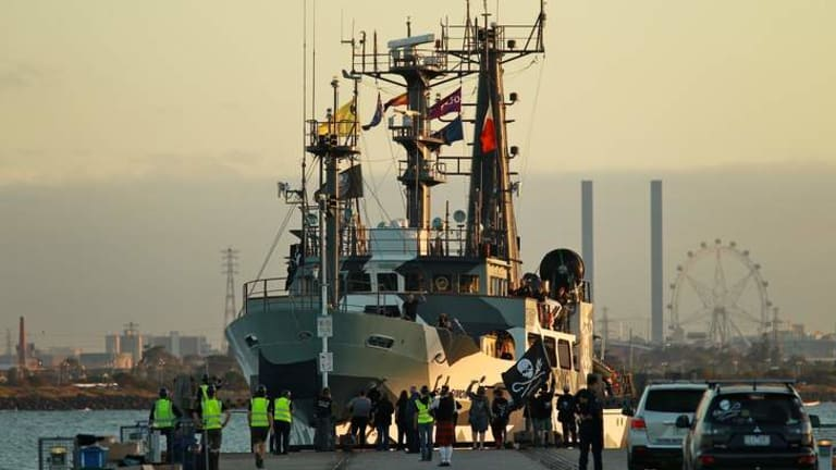 The Sam Simon docks at Williamstown on Saturday.