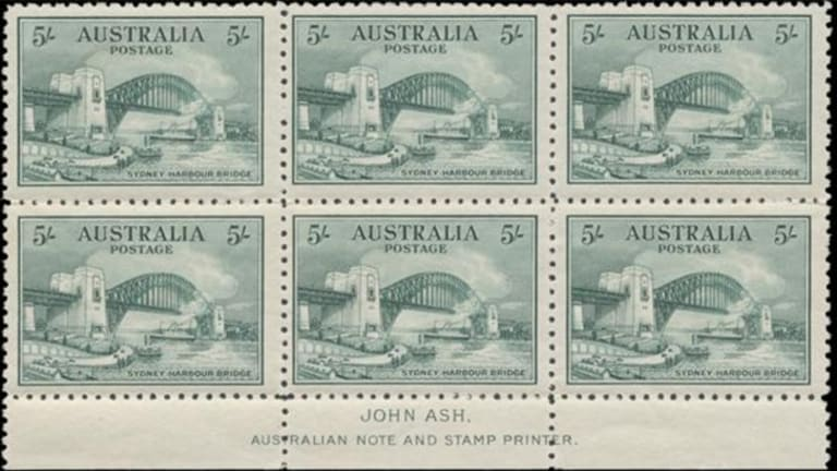 A block of stamps from the 'Sydney Harbour Bridge' collection was among those said to have been stolen.