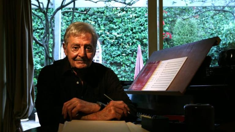 Peter Sculthorpe in his Sydney home in 2010, the year he donated $3.5 million to the Sydney Conservatorium.