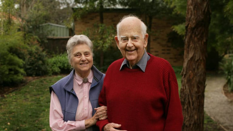 Don Charlwood, right, pictured in 2006 with his wife Nell.